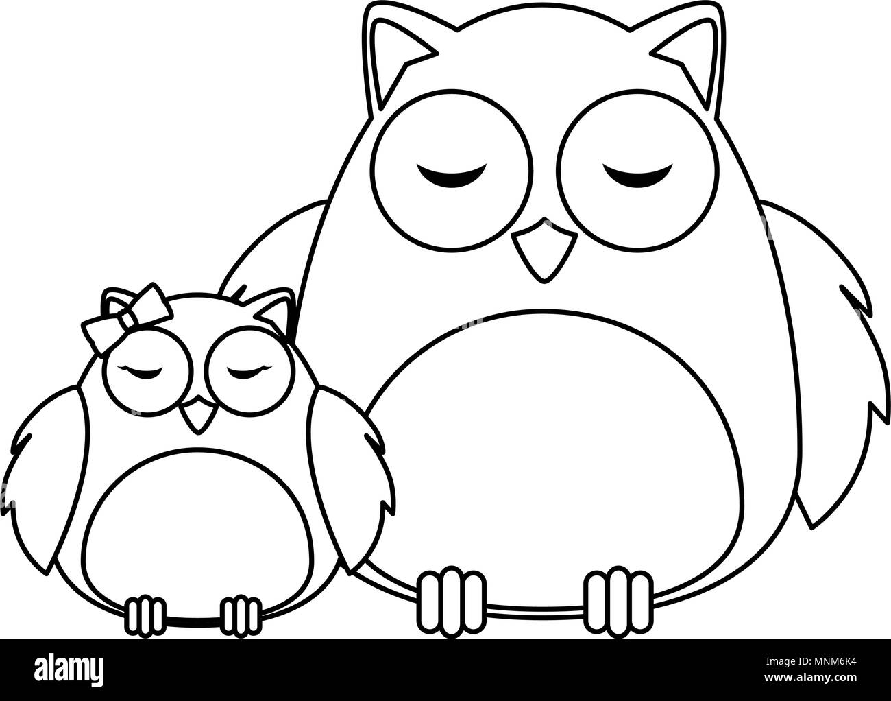 cute father and daughter owls birds characters - Stock Image