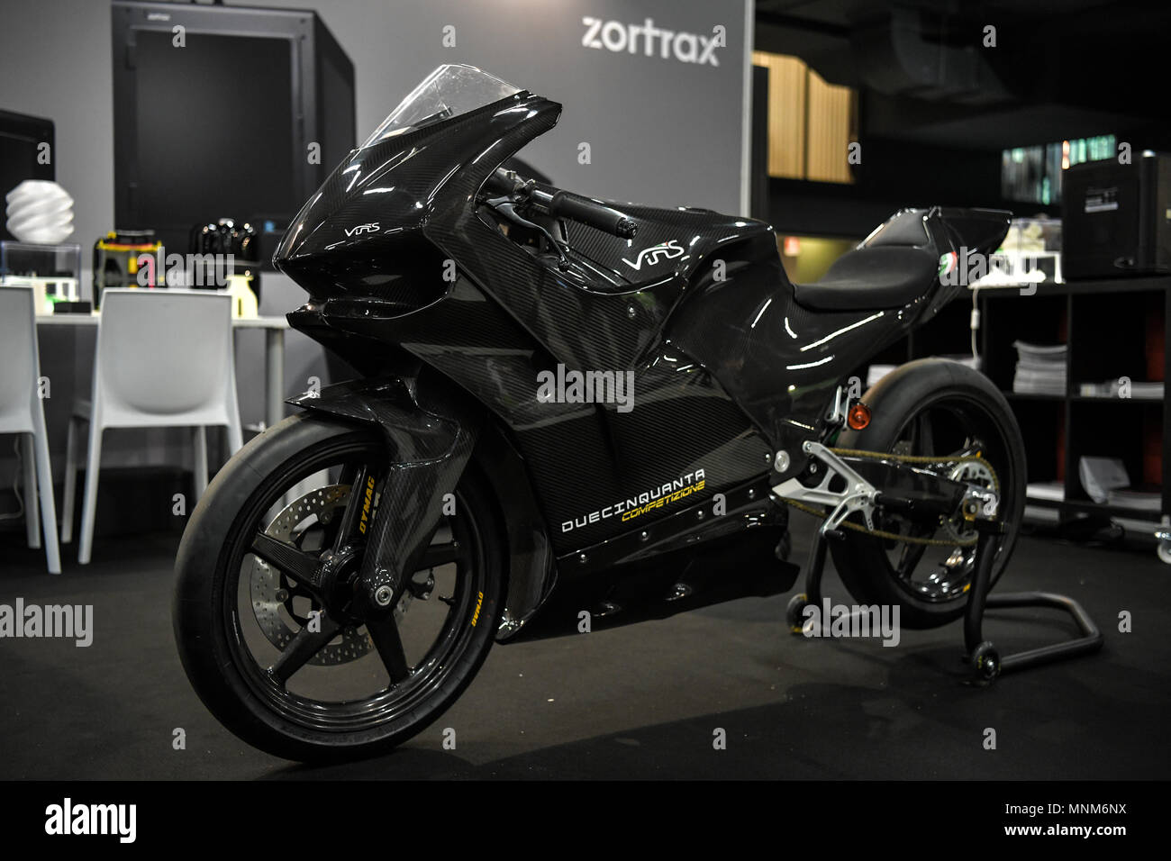 Milan, Italy - 17 May 2018: Duecinquanta Competizione, a 3d printed motorbike designed by Vins Motors is on display during the Technology Hub 2018. Th - Stock Image