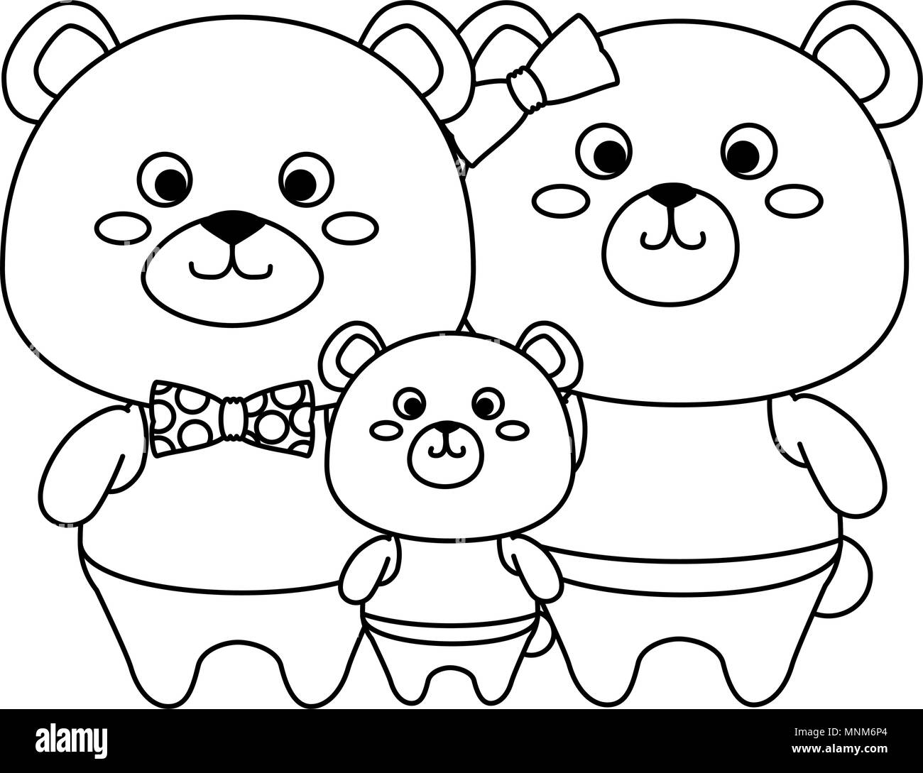 cute family bears teddy adorables characters - Stock Image