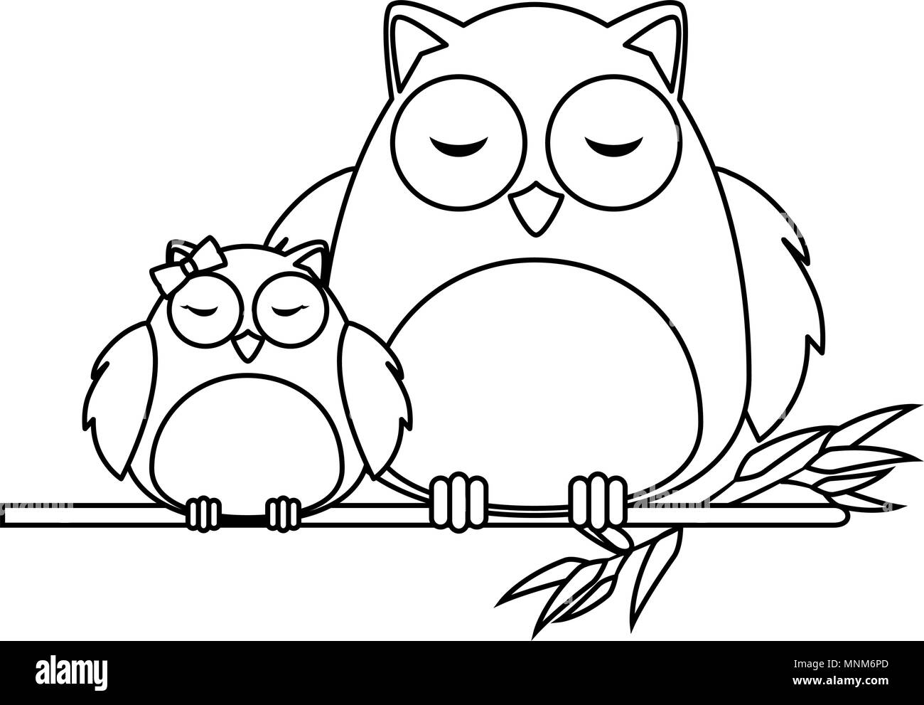 cute father and daughter owls in branch characters - Stock Image