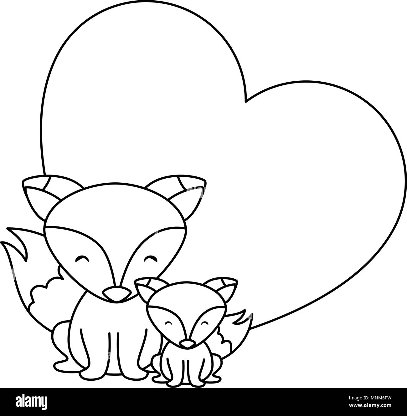 cute father and son foxes in heart characters - Stock Image