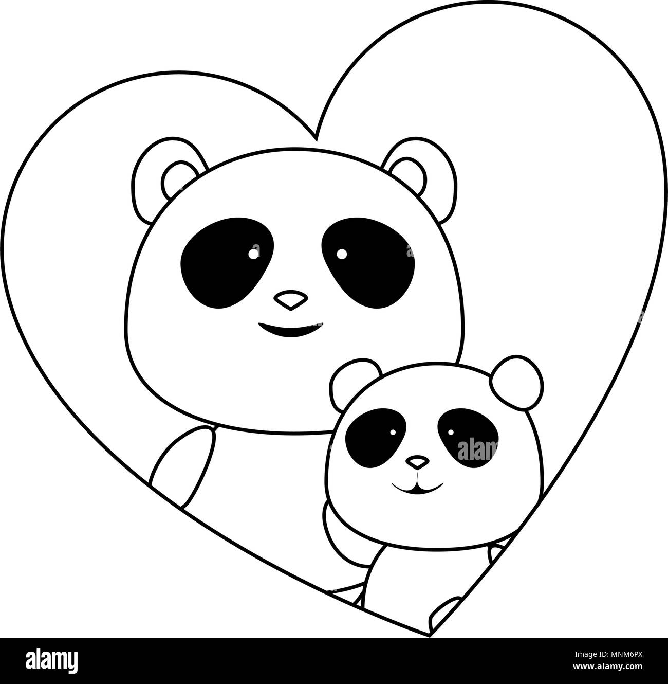 cute father and son panda bears in heart characters - Stock Image