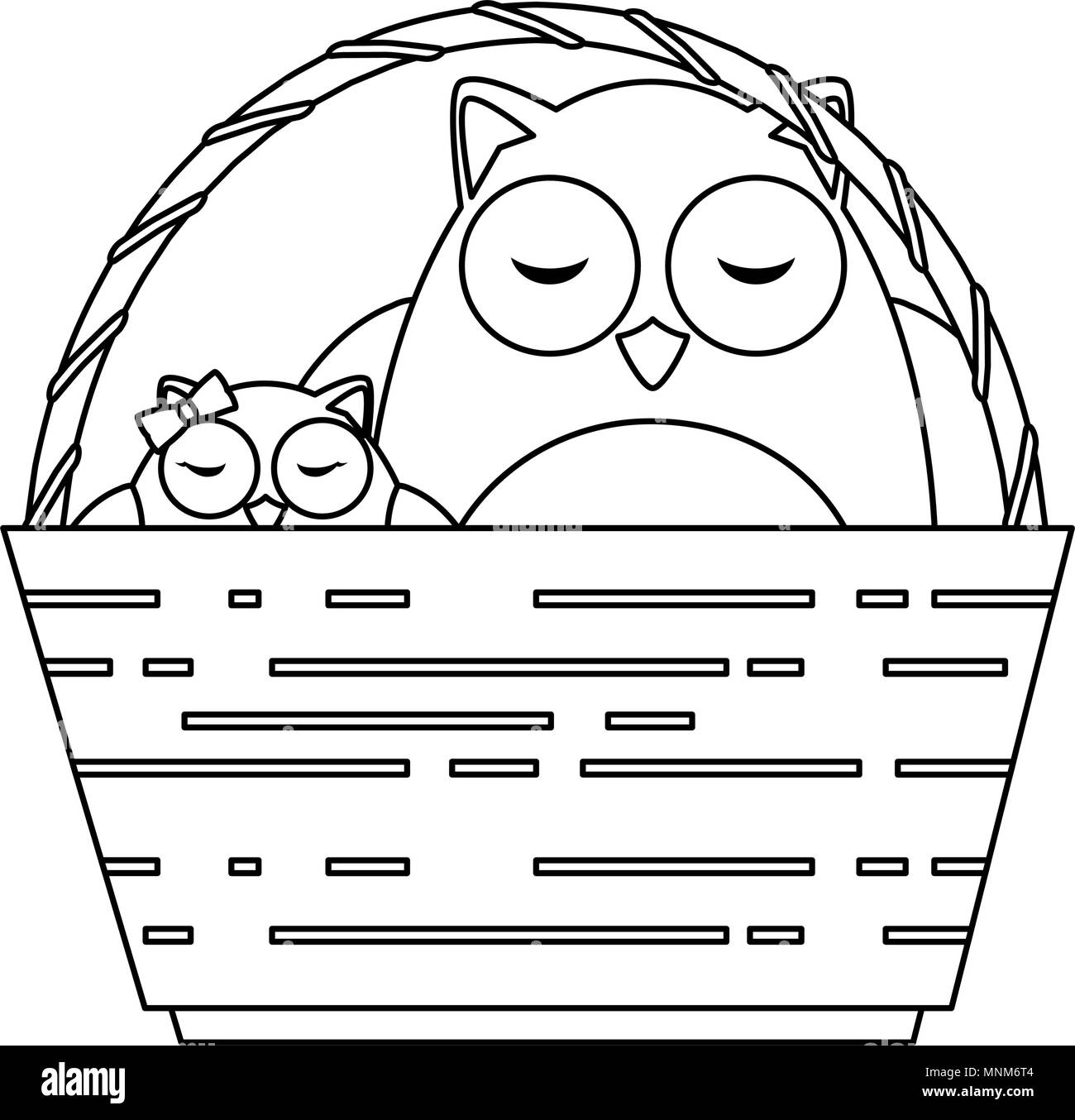 cute father and daughter owls in basket characters - Stock Image