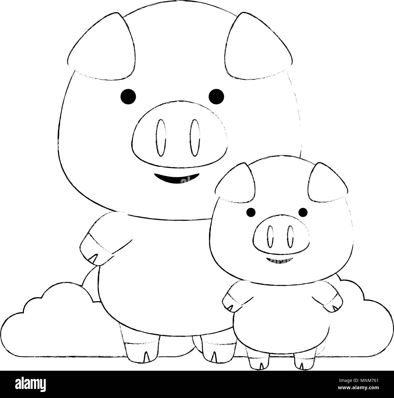 cute little pig father and son adorables characters - Stock Image
