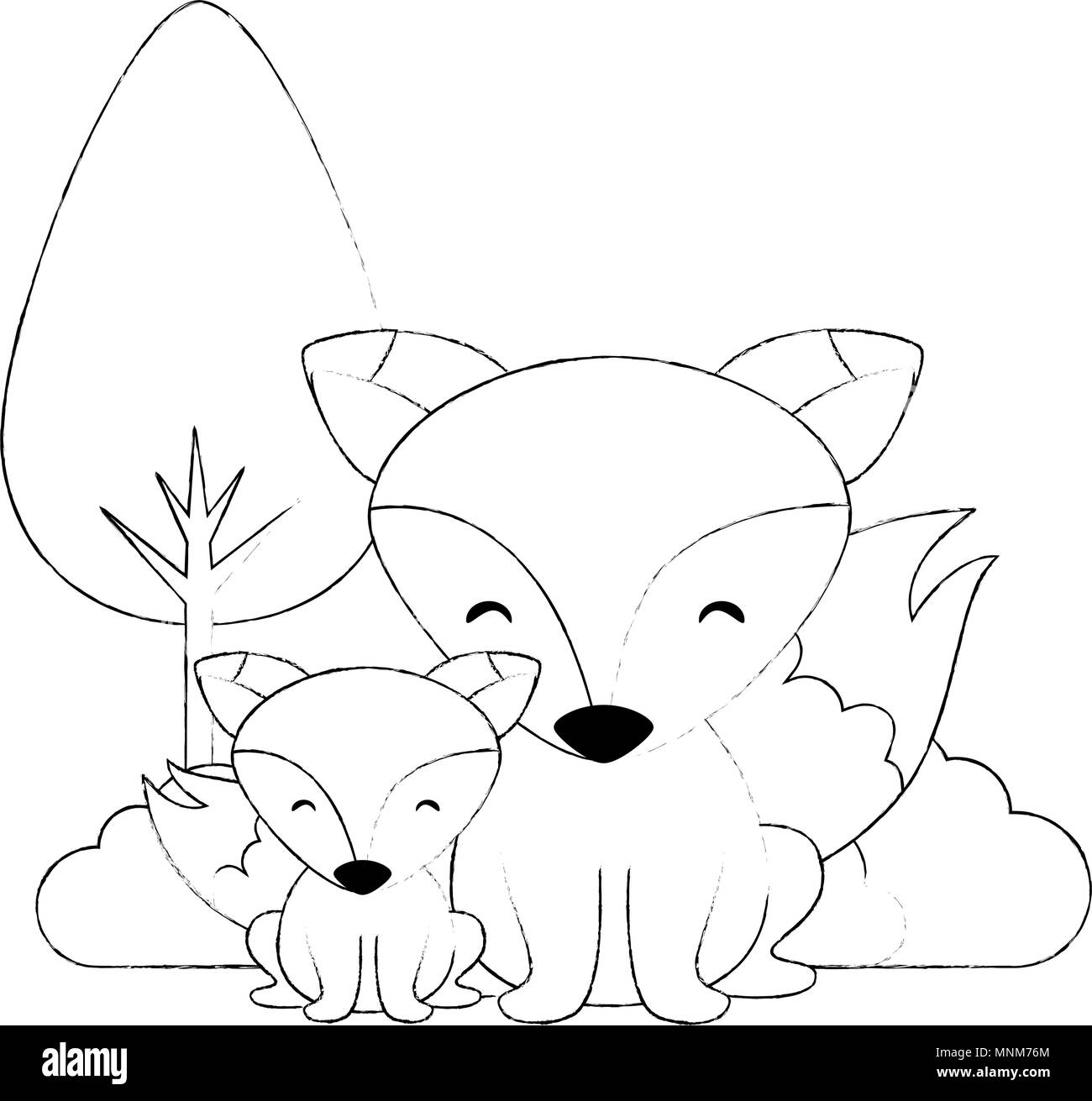 cute father and son foxes characters - Stock Image