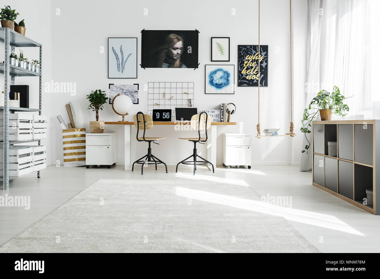 Merveilleux Spacious White Home Office Designed In Scandi Style Stock ...
