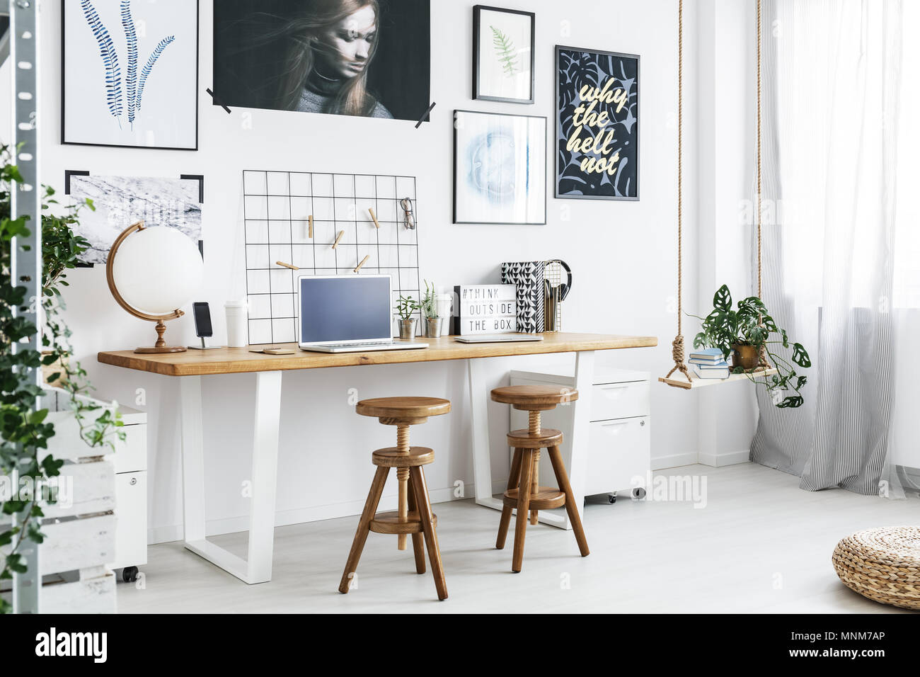 trendy home office. Modern Double Desk And Two Stools In Trendy Home Office D