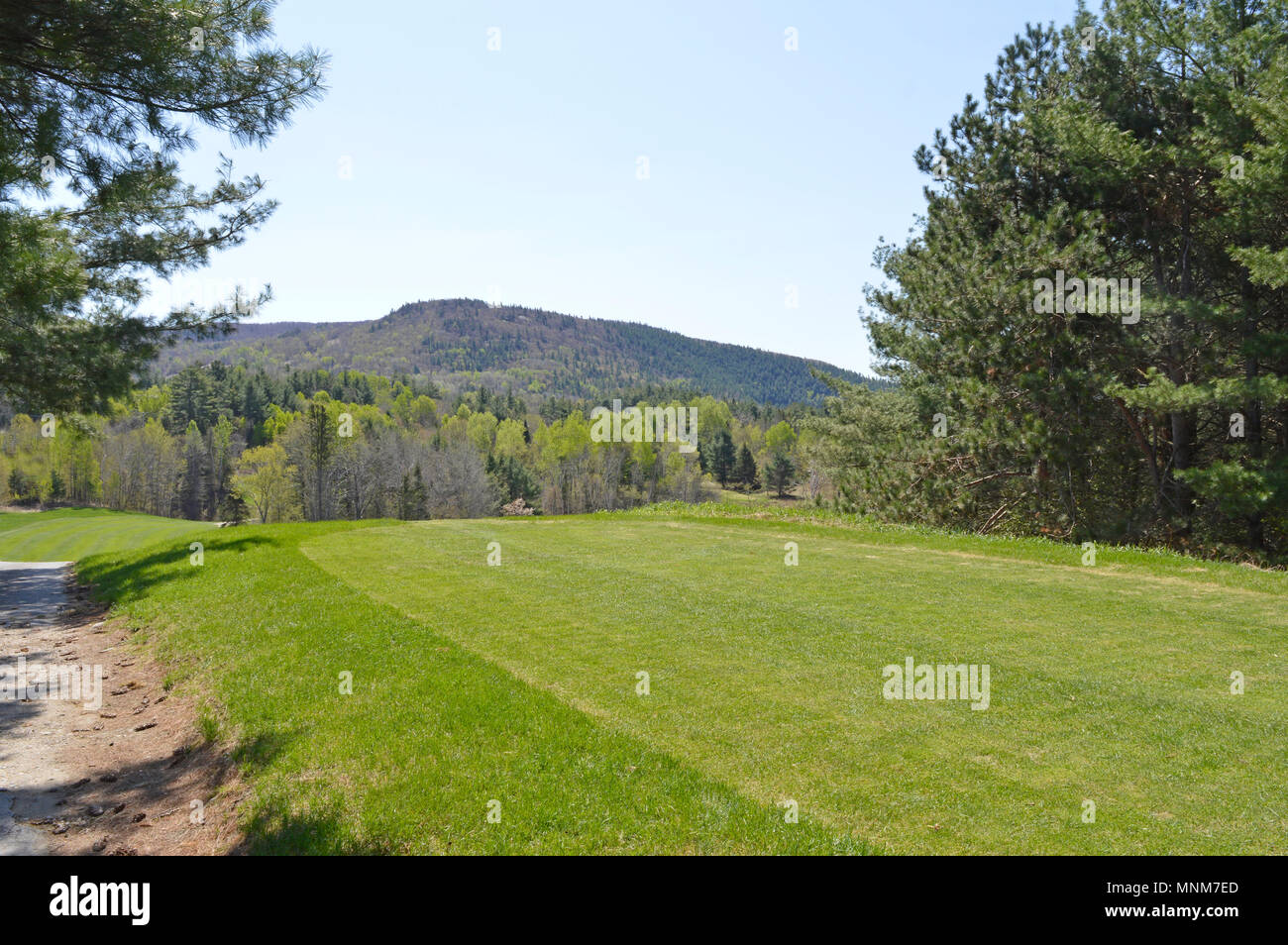 View from the tee  at beautiful Golf course in Lac Ste. Marie, Quebec Canada. - Stock Image