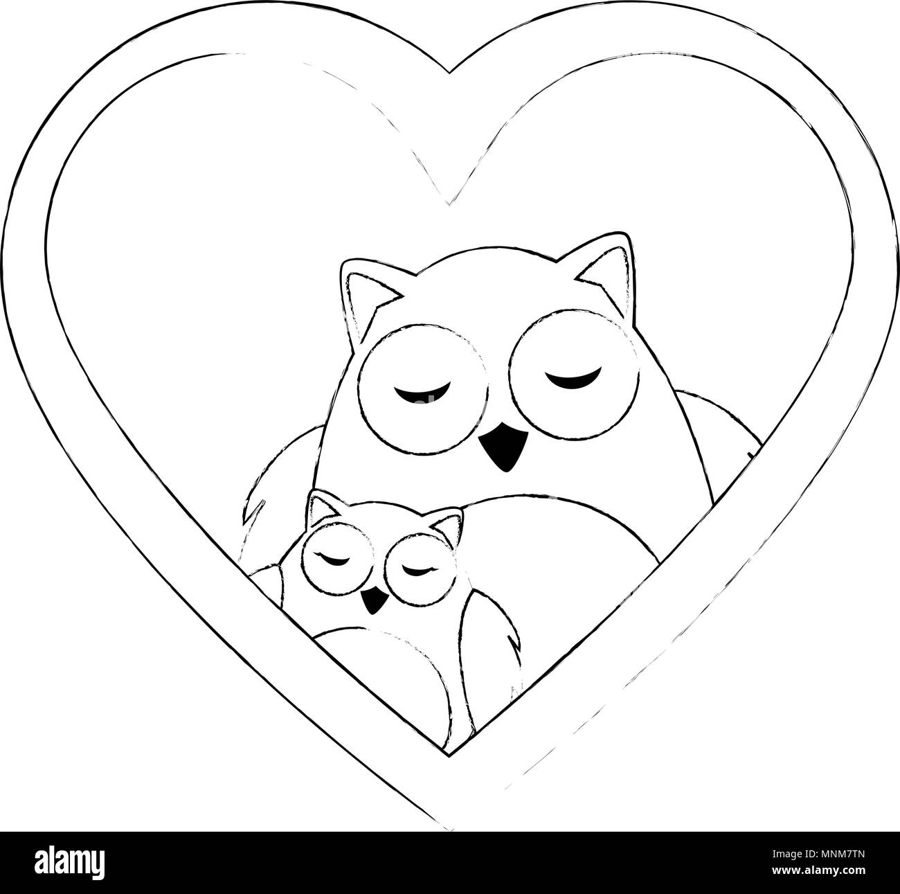 cute father and daughter owls in heart characters - Stock Image