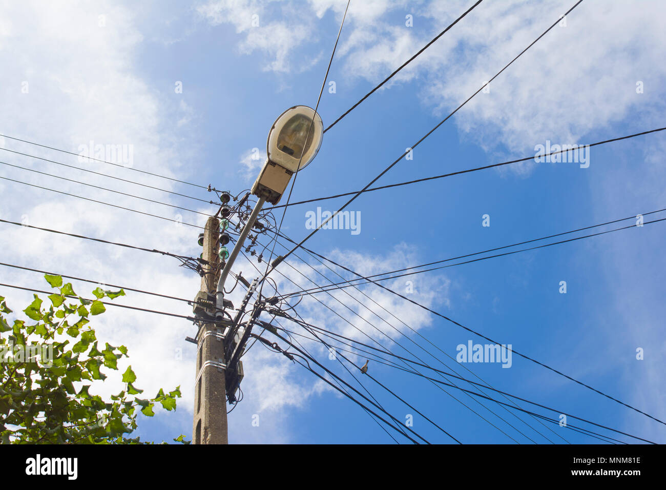 Electric cable and wires on electric pole Electricity Stock Photo ...