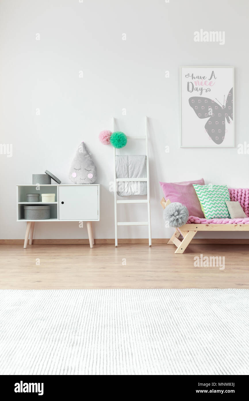 Kid Room With Big White Carpet On The Floor And Cute
