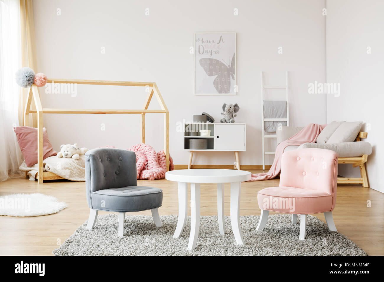 Ordinaire Grey And Pink Small Cute Chairs Standing On Soft Carpet In Cozy Baby Room