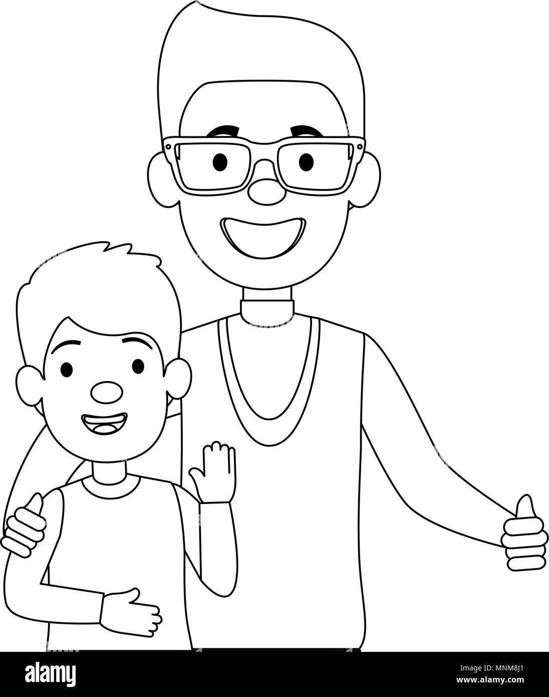 best dad with little son characters - Stock Image