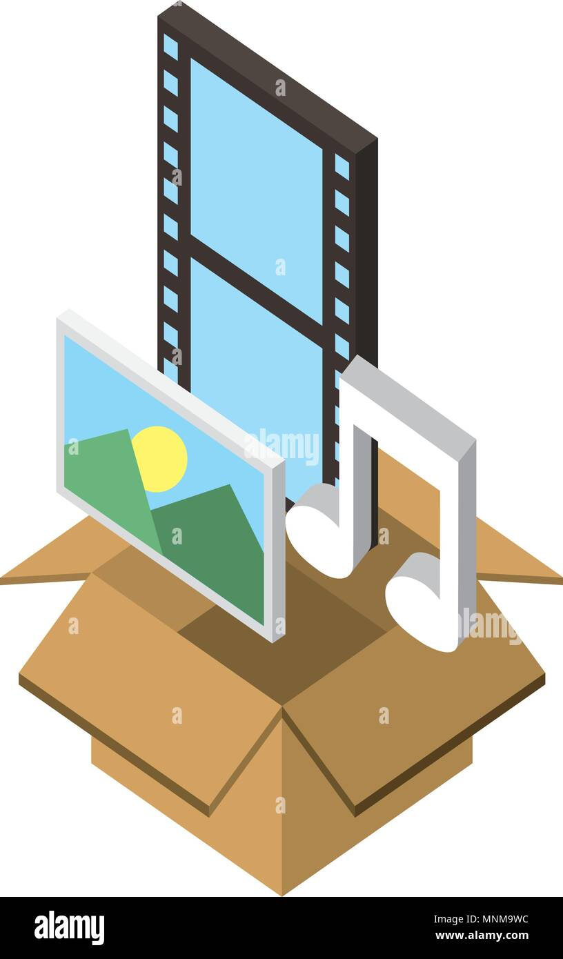 box carton with format files isometric icon - Stock Vector