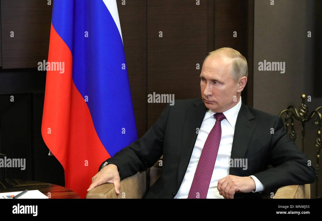 Russian President Vladimir Putin during his bilateral meeting with Syrian President Bashar al-Assad at his Black Sea resort residence May 17, 2018 in Sochi, Russia.   (Russian Presidency via Planetpix) - Stock Image