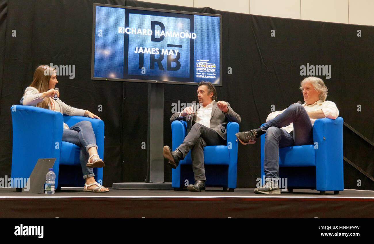 Rebecca Jackson interviews Richard Hammond and James May at the lecture Theatre, during  the London Motor Show 2018. Stock Photo