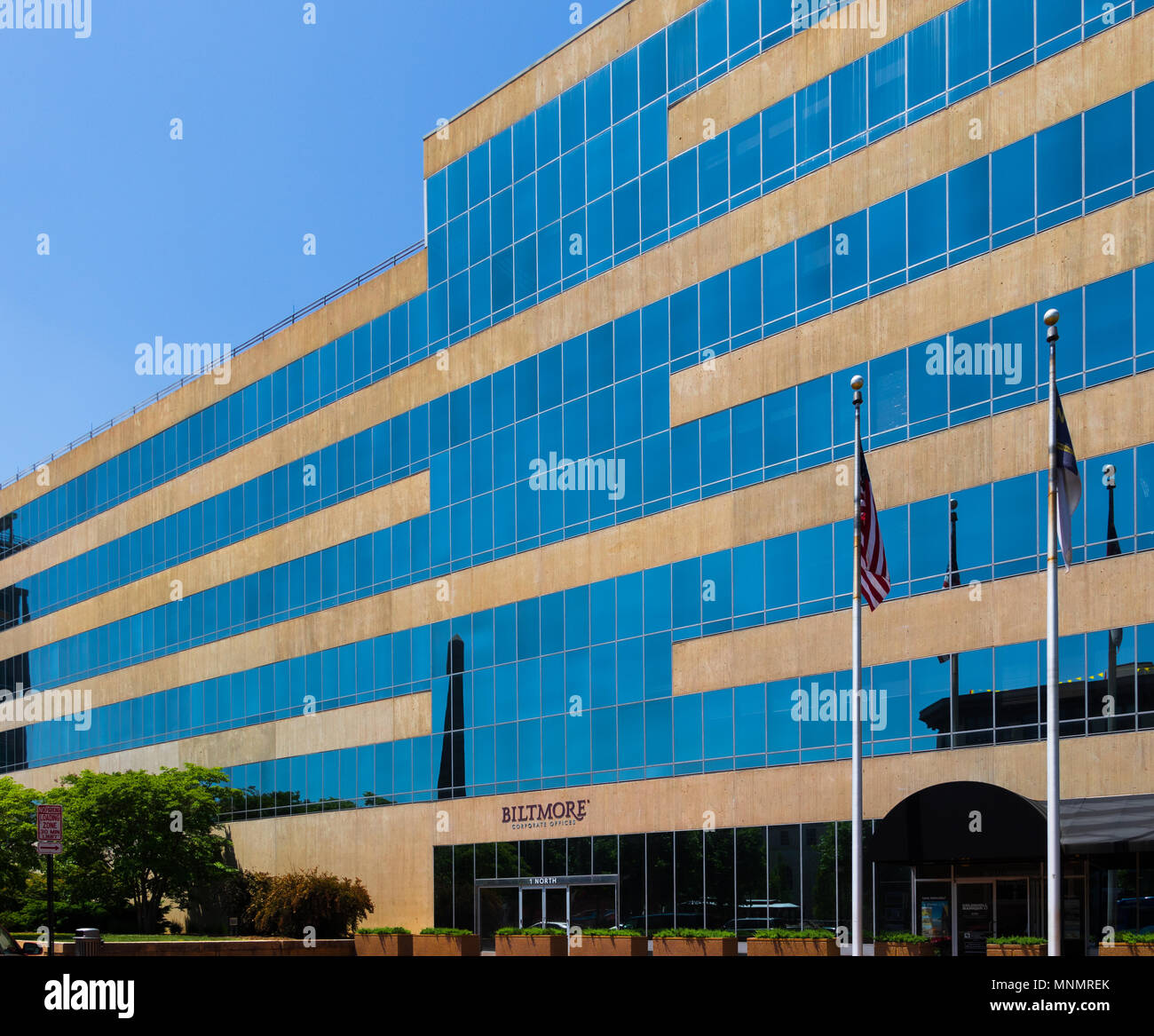 ASHEVILLE, NC, USA-13 MAY 18: The seven story, modern-profile Biltmore Corporate office building sets on Pack Square in Asheville, NC, USA. - Stock Image
