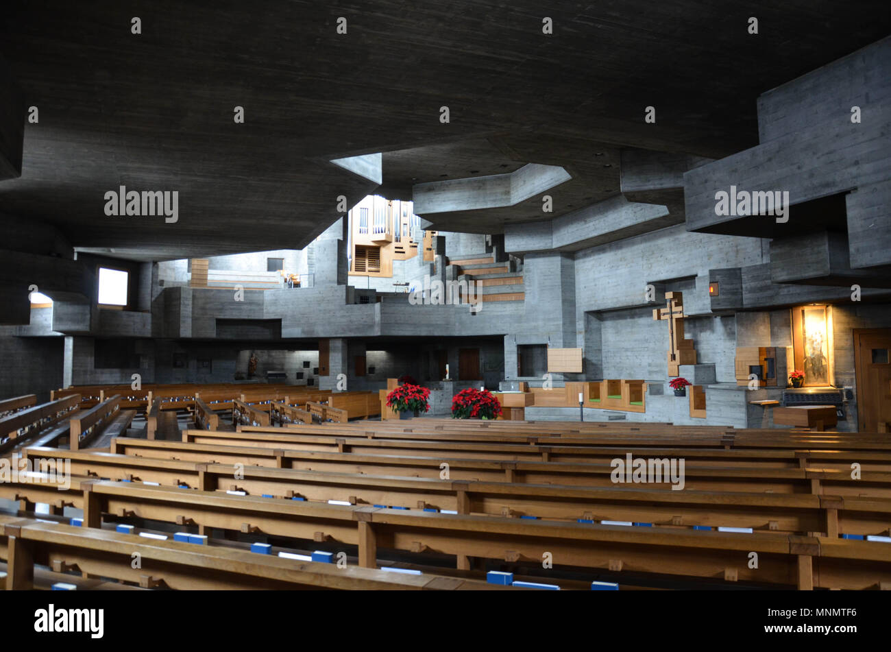 Holy Cross Church (Heiligkreuzkirche), designed by architect Walter Förderer, completed 1969, Chur, Grisons canton, Switzerland, January 2018 - Stock Image