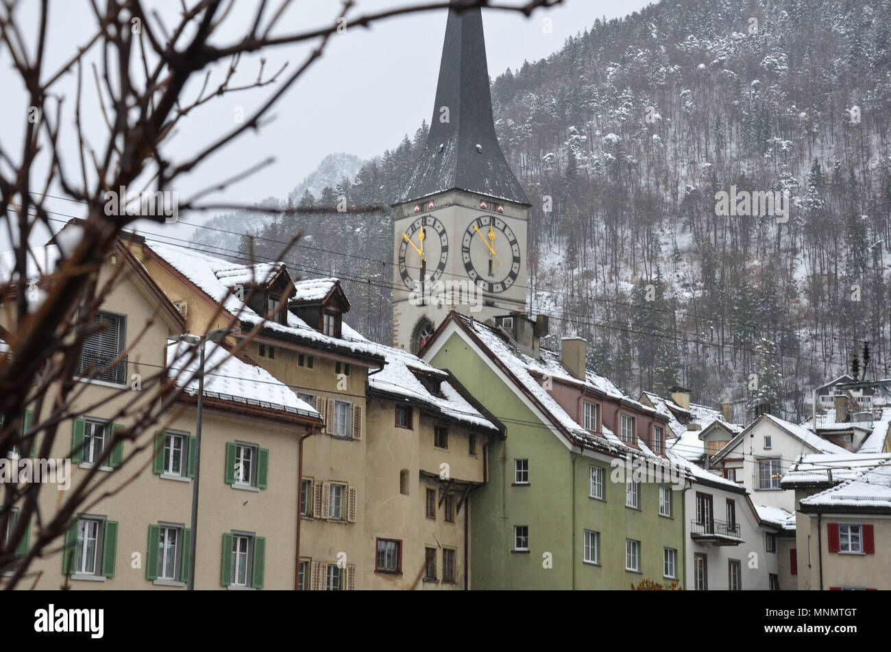 St. Martin's Church, Chur, Grisons canton, Switzerland, January 2018 - Stock Image