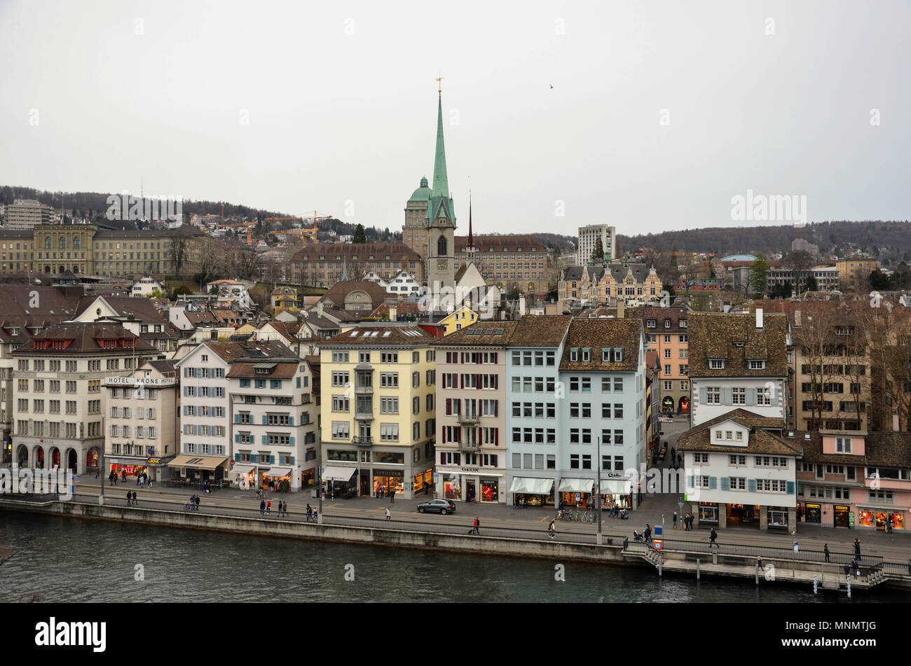 Central Zurich and the Limmat riverfront from the Lindenhof hill observation point, Zurich, Switzerland, January 2018 - Stock Image