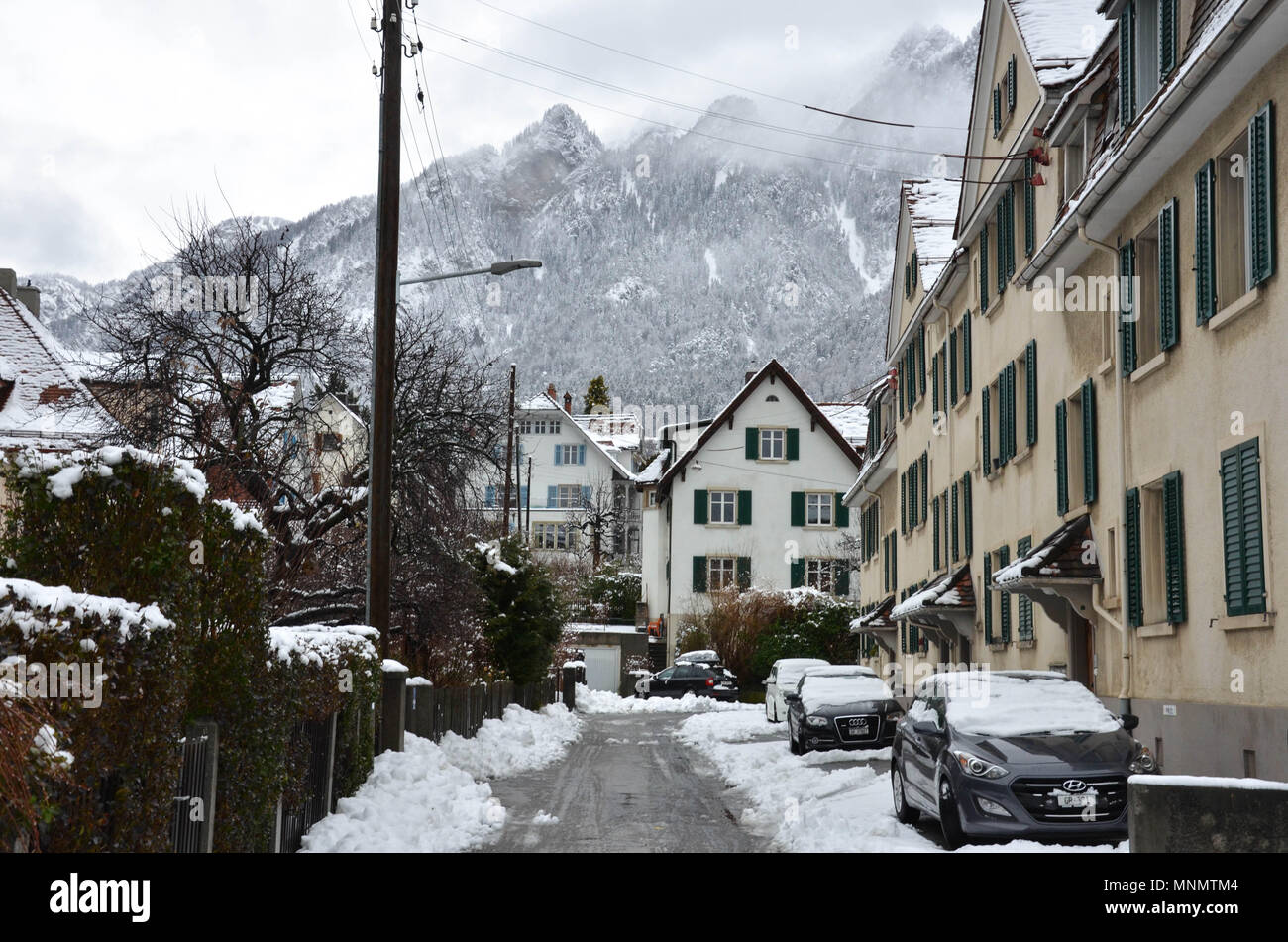 A residential street in Chur, Grisons canton, Switzerland, January 2018 - Stock Image