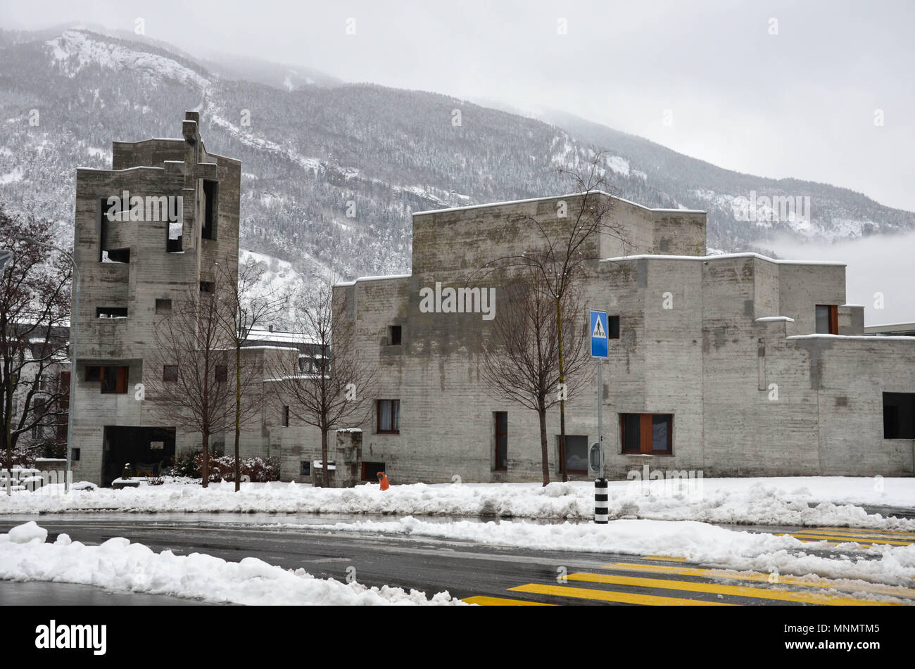 Holy Cross Church (Heiligkreuzkirche), designed by architect Walter Maria Förderer, completed 1969, Chur, Grisons canton, Switzerland, January 2018 - Stock Image