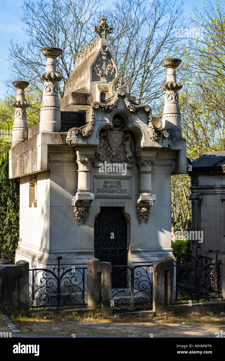 Paris, France - April 18, 2015: View of Pere Lachaise cemetery, the first garden cemetery in Paris, world's most visited cemetery. Stock Photo