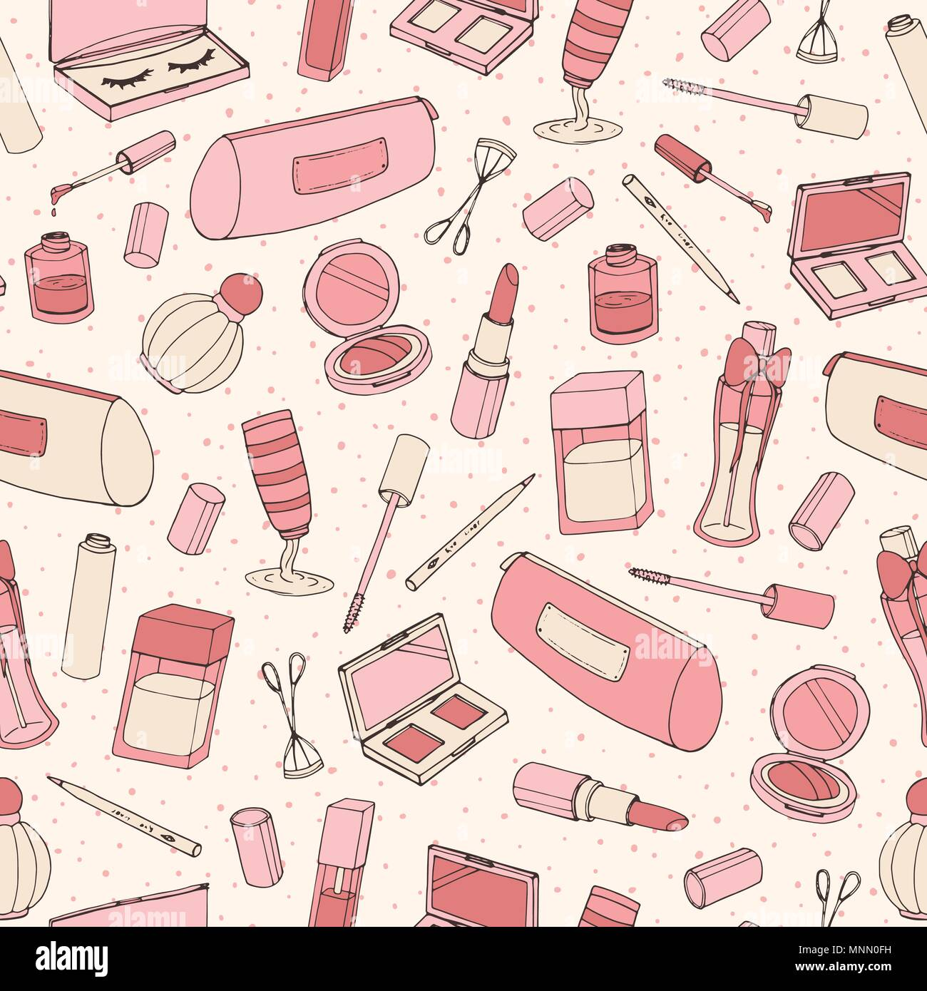a583581be85 Hand drawn cosmetics pattern with parfume bottles, nail lacquer, lipstick,  eye shadows and