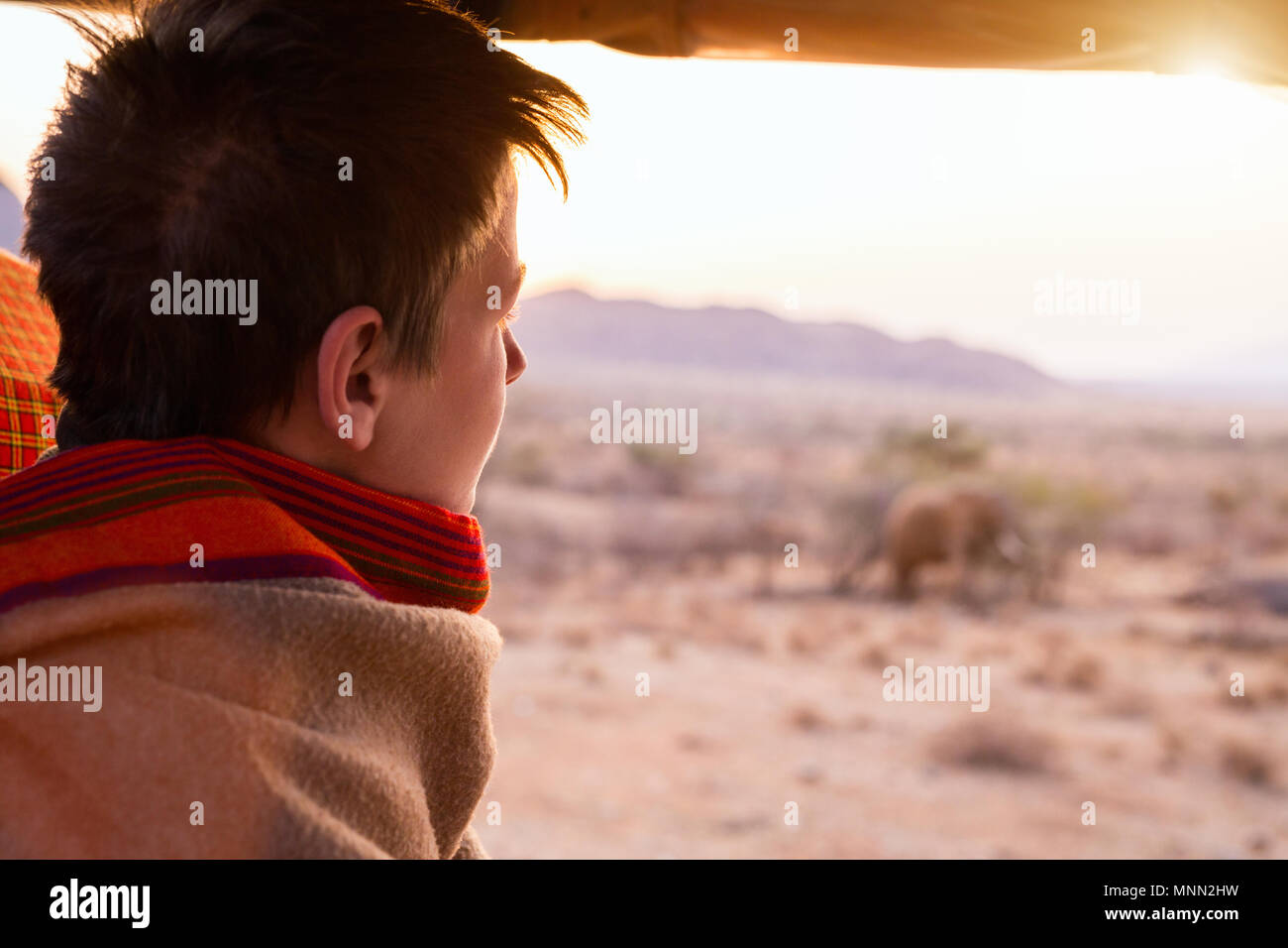 a3ba62edd5e Teenage boy on safari covered with warm blanket outdoors on beautiful  morning safari game drive -