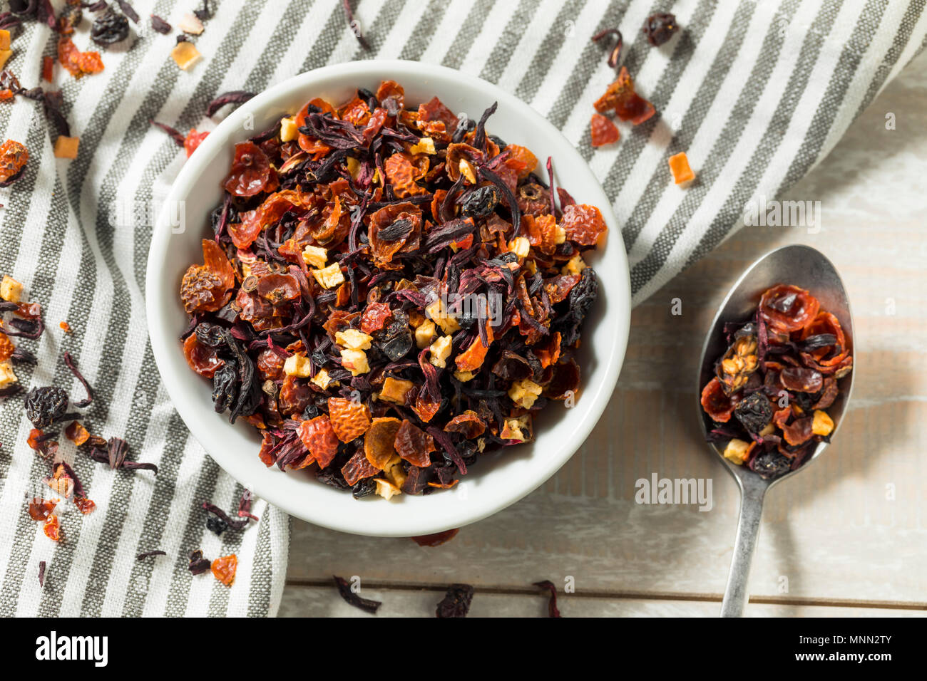 Dry Organic Berry Hibiscus Tea Leaves In A Bowl Stock Photo