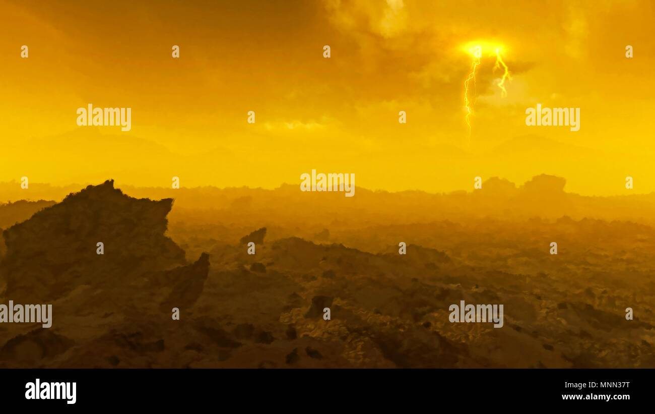 Surface of Venus. Computer illustration of a view across the rocky surface of the planet Venus, showing clouds of sulphuric acid obscuring the Sun. Venus lies around 108 million kilometres from the Sun, around two-thirds of the Earth-Sun distance, and is slightly smaller than Earth. It has the hottest planetary surface in the solar system, with temperatures of nearly 500 degrees Celsius since its dense carbon dioxide atmosphere traps the Sun's heat. The surface atmospheric pressure is around 90 times that on Earth. This image appears distorted because of the dense atmospheric heat haze. - Stock Image