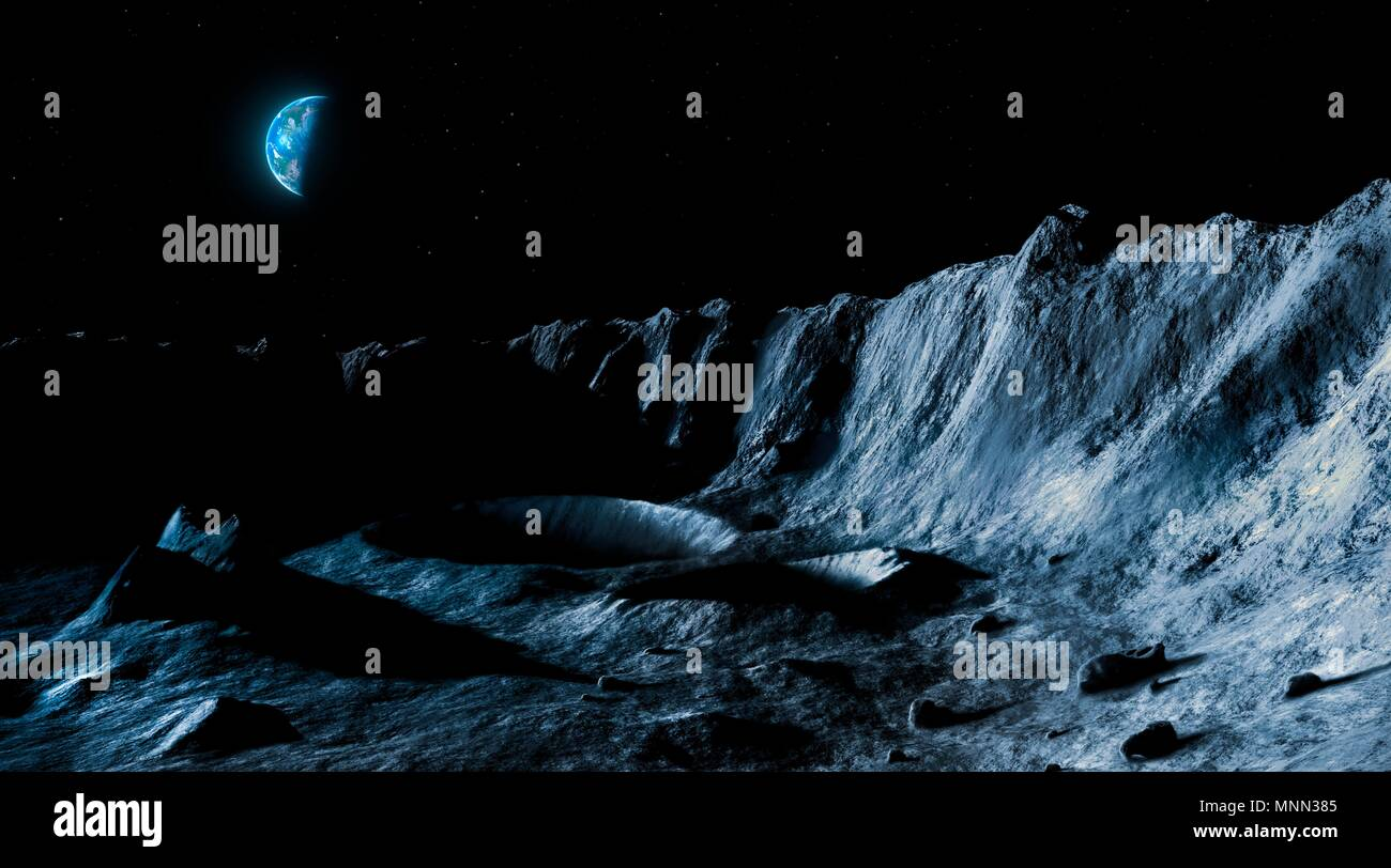 Illustration of the lunar landscape seen from its surface, with Earth in the sky. The Earth is in quarter phase. Seen from the Moon, the Earth appears roughly four times bigger than the Moon does in Earth's sky, and around 50 times brighter. This is showing the Earth from the lunar southern hemisphere, so it appears inverted. Stock Photo