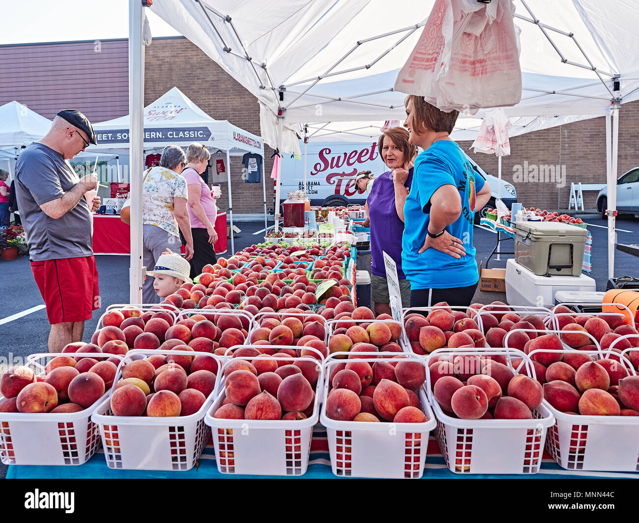 Two women selling farm fresh Chilton County Alabama peaches to a male customer at a local farmer's market in Montgomery Alabama, USA. - Stock Image
