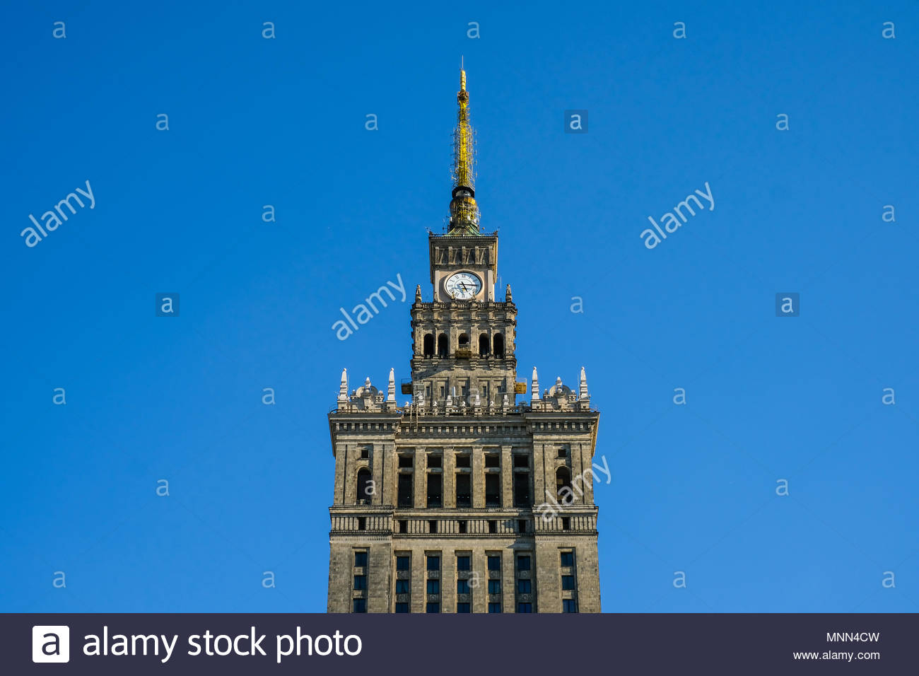 Palace of Culture and Science in Warsaw Poland - Stock Image