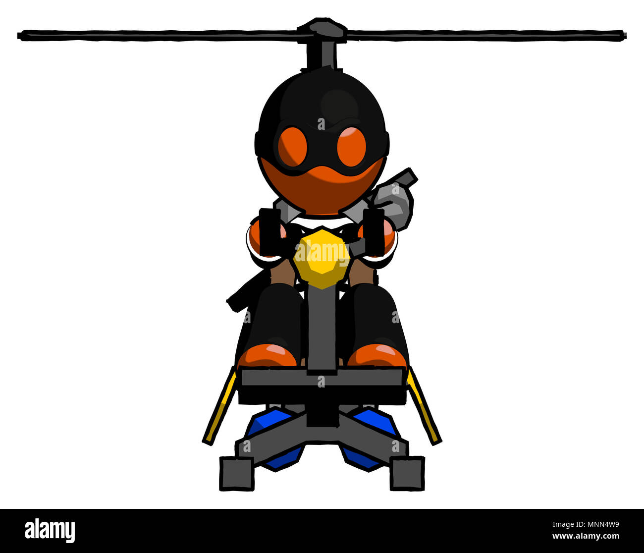 Orange Thief Man flying in gyrocopter front view - Stock Image