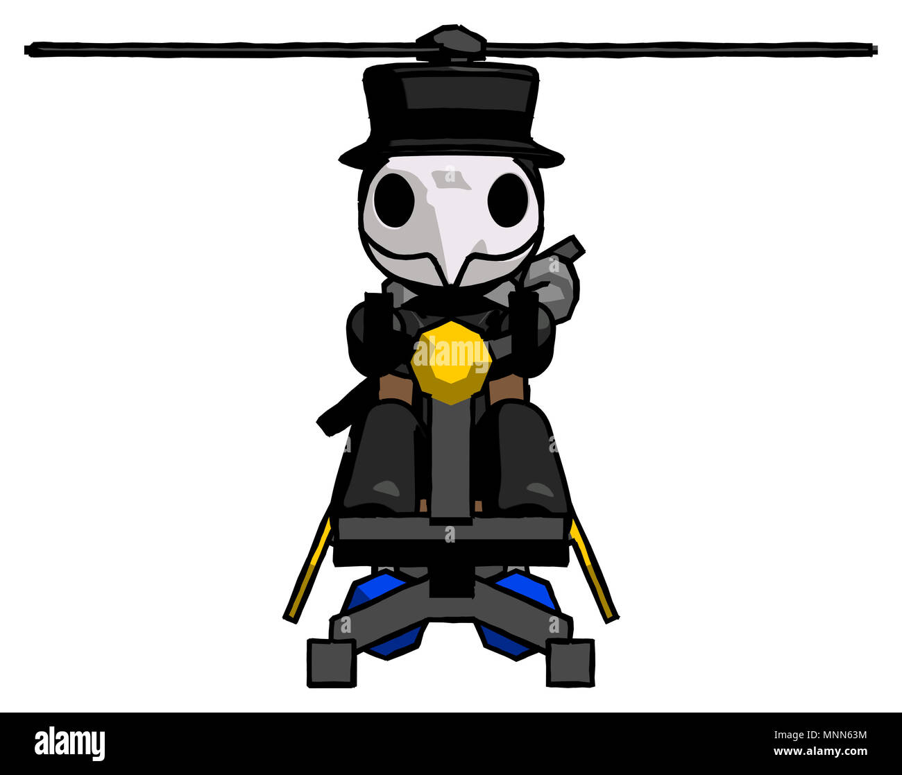 Black Plague Doctor Man flying in gyrocopter front view - Stock Image