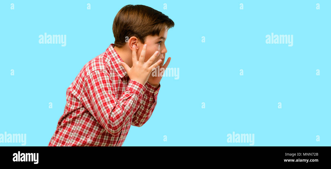 Handsome toddler child with green eyes stressful keeping hands on head, terrified in panic, shouting over blue background - Stock Image