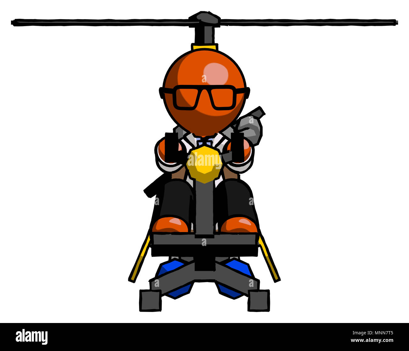 Orange Doctor Scientist Man flying in gyrocopter front view - Stock Image
