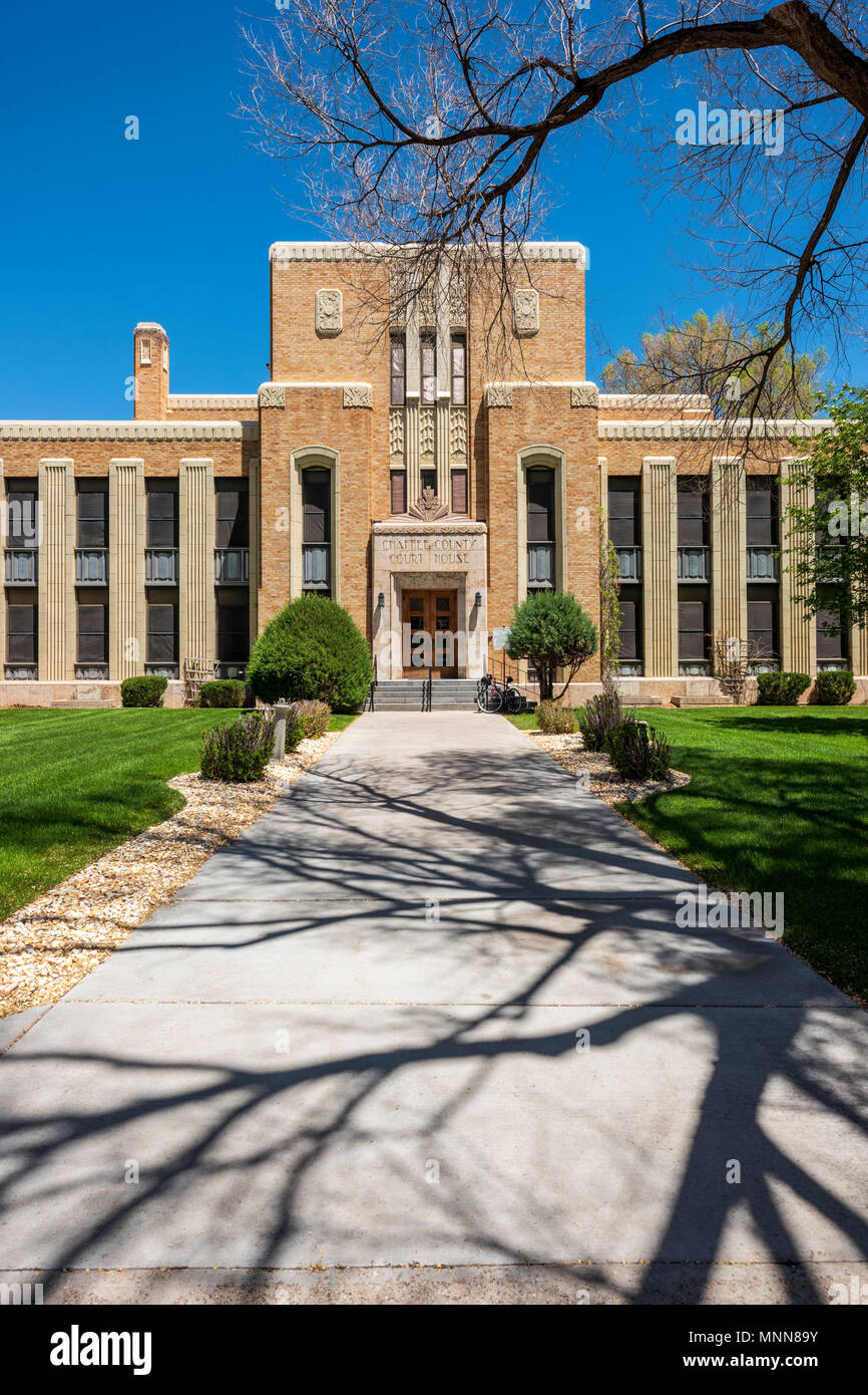 """Chaffee County Courthouse; """"Art Deco"""" style designed by architect Walter DeMordaunt; 1932; Colorado State Historical Register; Salida; Colorado; U - Stock Image"""