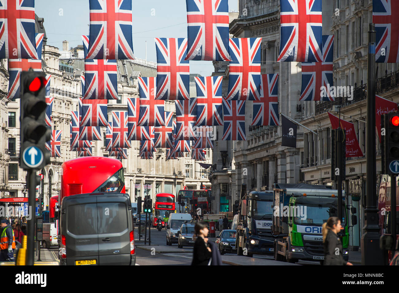 18 May 2018. Royal Wedding festivities above the retailers in Regent Street, London's premier shopping street of the West End. - Stock Image