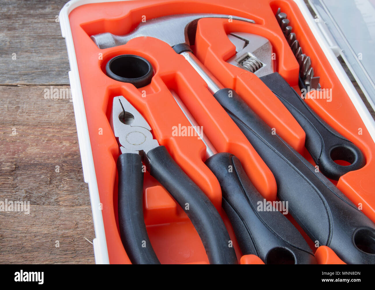 Tools set on old wooden Board with copy space - Stock Image