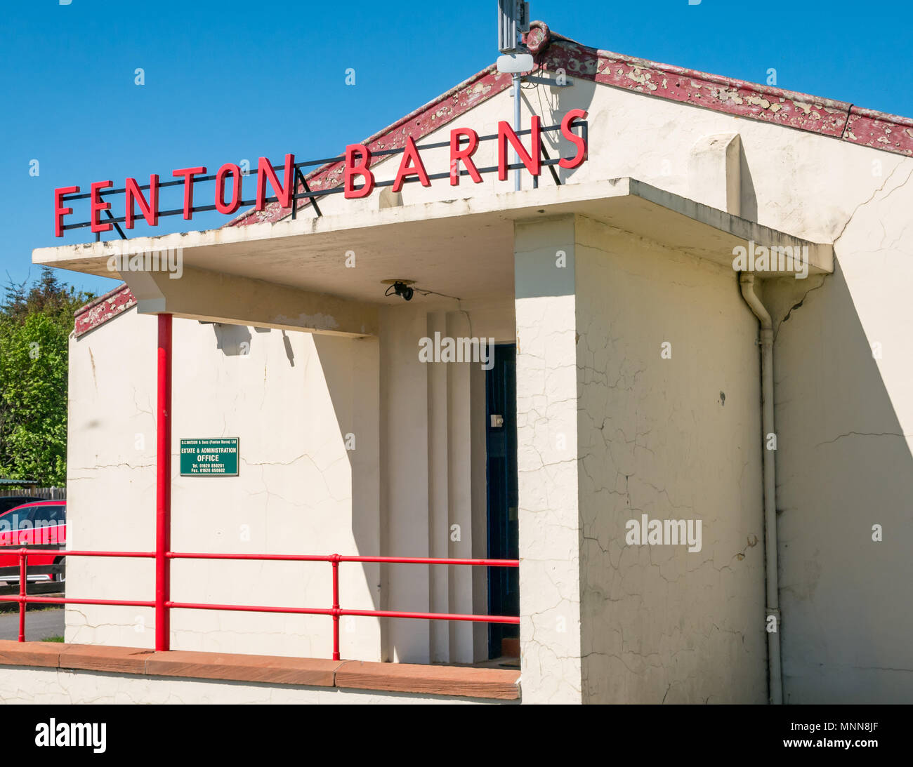Former Royal Air Force officers mess building, Drem airfield now Fenton Barns retail village, Drem, Scotland, UK - Stock Image