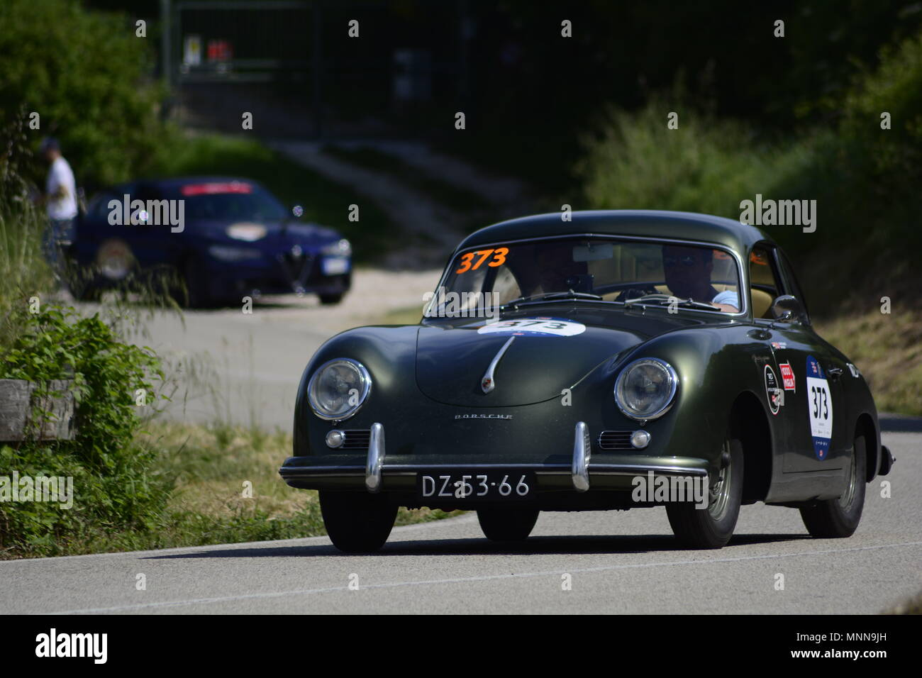 PESARO SAN BARTOLO , ITALY - MAY 17 - 2018 : PORSCHE 356 1500 1955 on an old racing car in rally Mille Miglia 2018 the famous italian historical - Stock Image