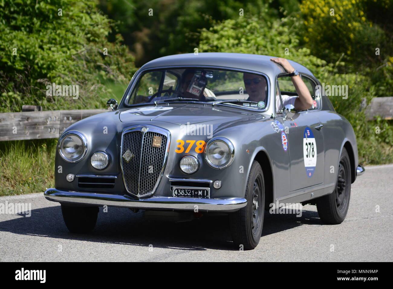 PESARO COLLE SAN BARTOLO , ITALY - MAY 17 - 2018 : LANCIA AURELIA B20 GT1957 on an old racing car in rally Mille Miglia 2018 the famous italia - Stock Image