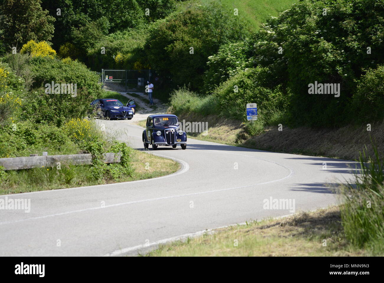 PESARO COLLE SAN BARTOLO , ITALY - MAY 17 - 2018 :  LANCIA ARDEA	1952 on an old racing car in rally Mille Miglia 2018 the famous italia - Stock Image