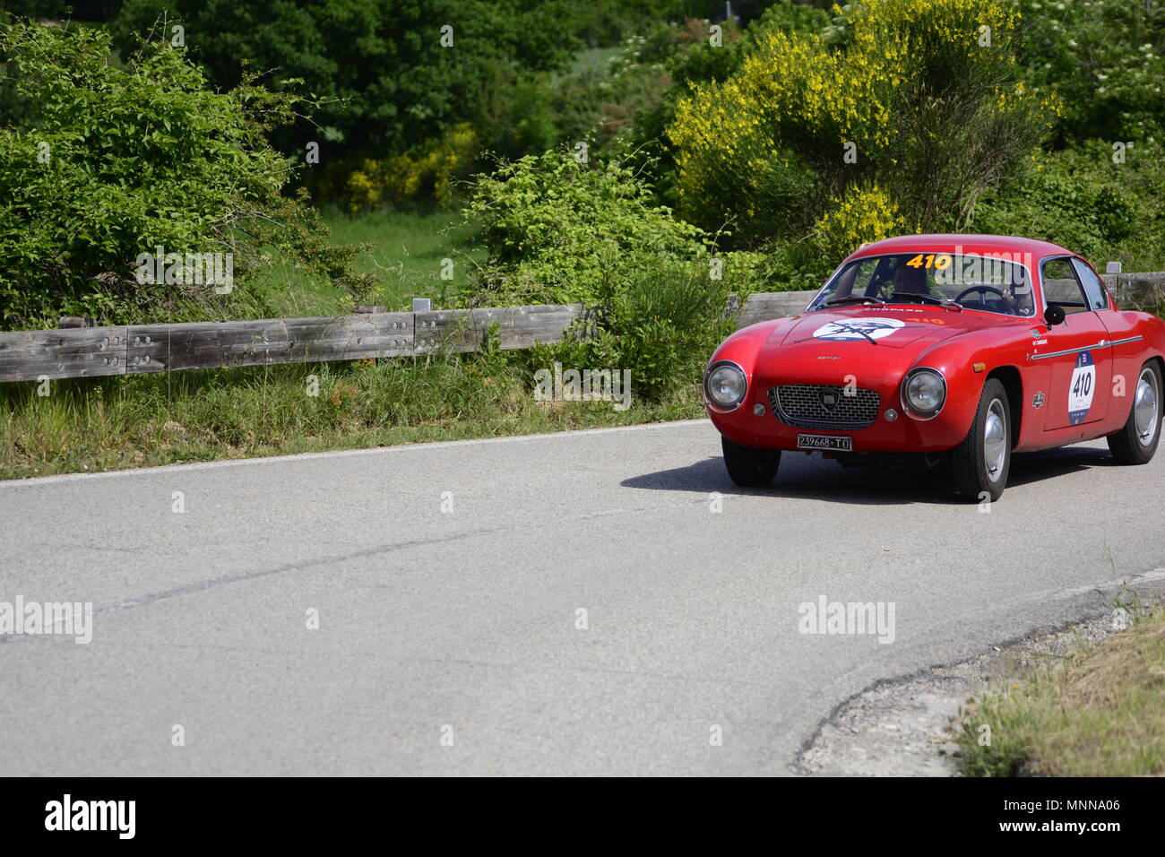 PESARO COLLE SAN BARTOLO , ITALY - MAY 17 - 2018 LANCIA APPIA GTZ	1957 :on an old racing car in rally Mille Miglia 2018 the famous italia - Stock Image