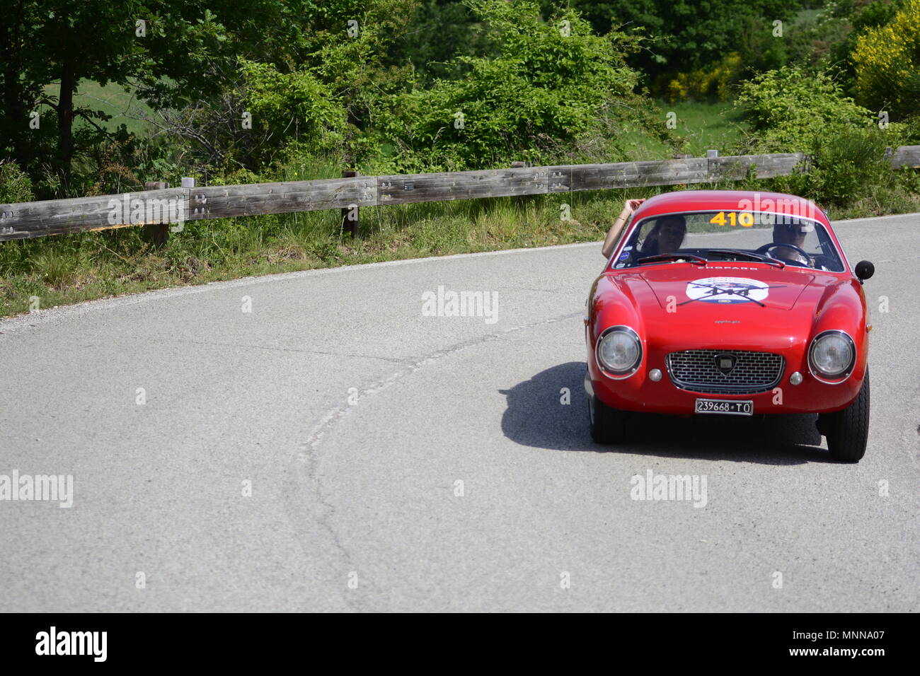PESARO COLLE SAN BARTOLO , ITALY - MAY 17 - 2018 LANCIA APPIA GTZ1957 :on an old racing car in rally Mille Miglia 2018 the famous italia - Stock Image