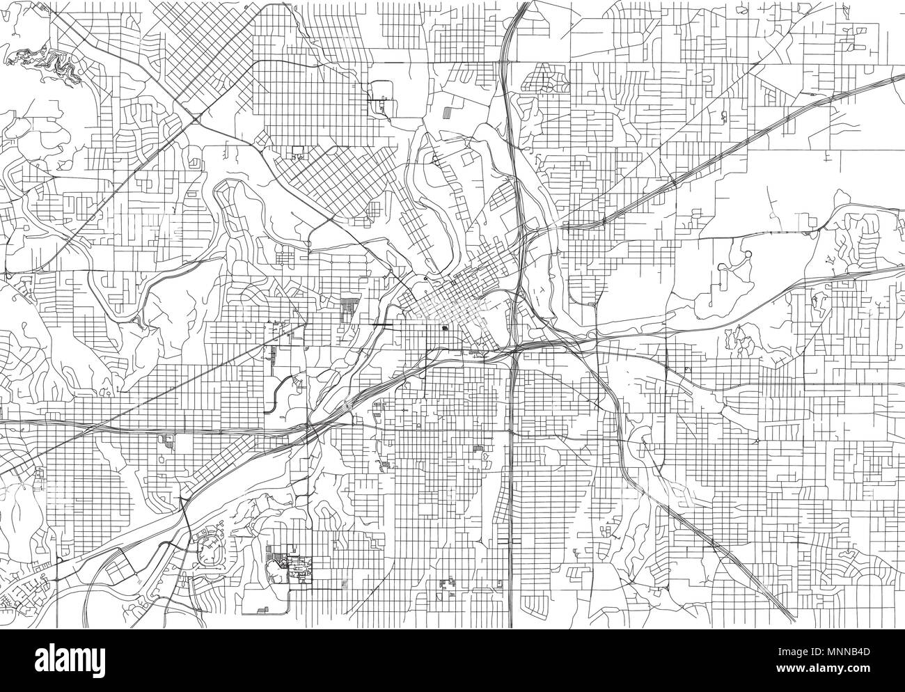 Streets of Fort Worth, city map, Texas. Roads and urban area. United ...