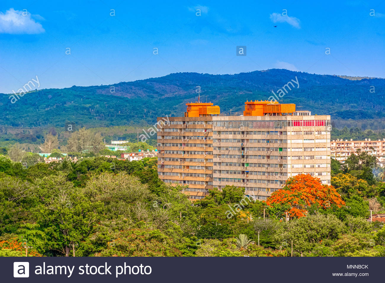 Aerial view of the two iconic 12 stories buildings in the Sandino area in Santa Clara - Stock Image