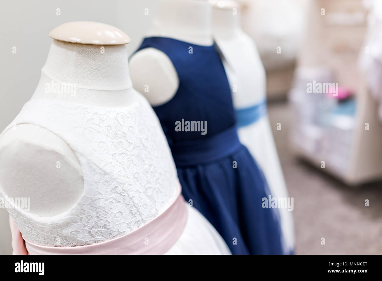 Many Wedding Party Flower Girl Children Daughter Little Girl Mannequins In Blue Pink Wedding Dresses In Boutique Store Shop Stock Photo Alamy,Special Occasion Wedding Guest Dresses 2020